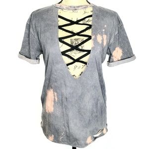 Affliction | Distressed Acid Wash Cross Neck Tee